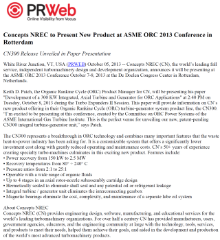 10/5/2013 - Concepts NREC to Present New Product at ASME ORC 2013 Conference in Rotterdam